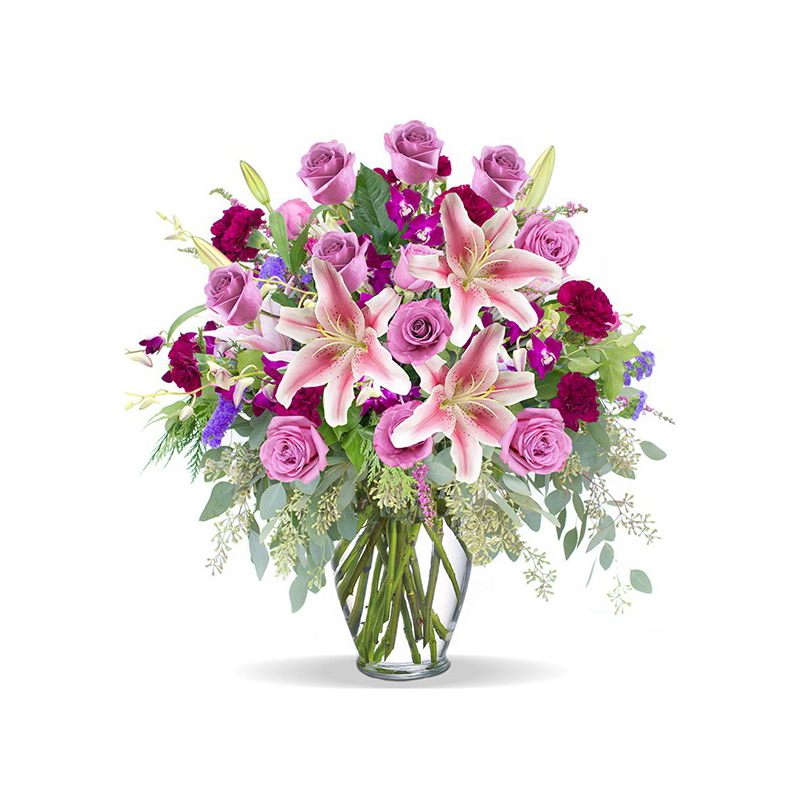 Glass Vase Of Pink Roses Flower Delivery In Nairobi Same Day