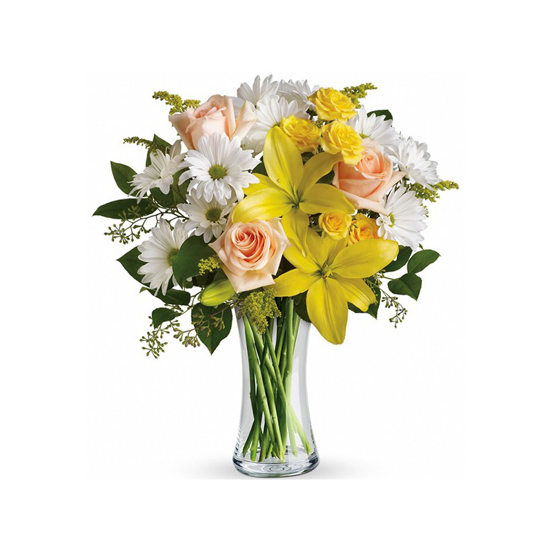 Glass Vase Of Yellow Roses Flower Delivery In Nairobi Same Day