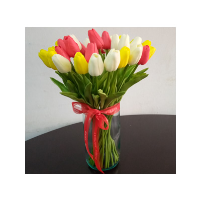 Artificial Tulips In A Vase Flower